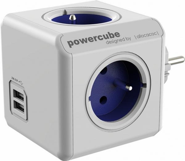 Fisa in forma de cub 4 prize Schuko si 2XUSB, albastru Allocacoc 0