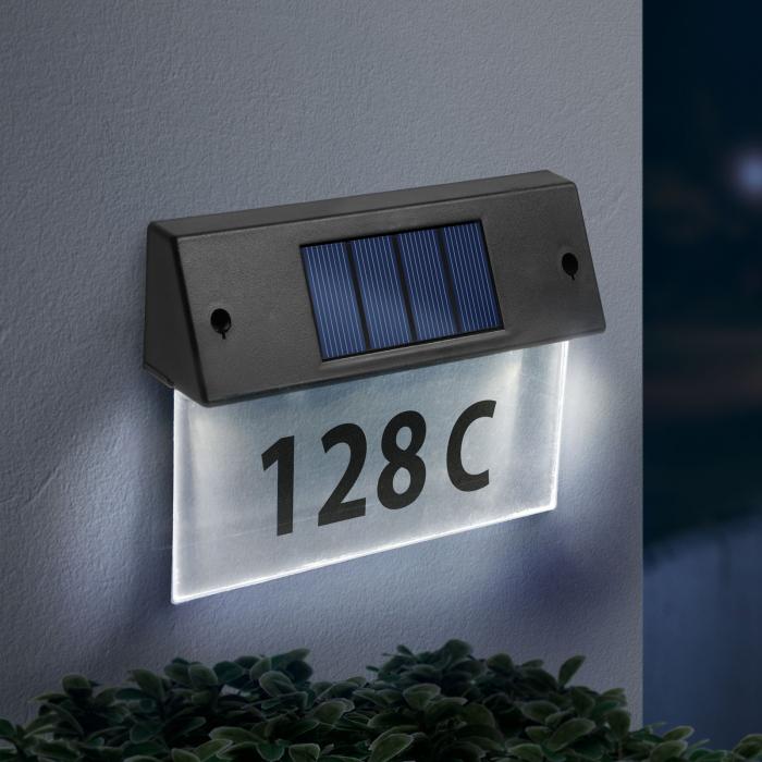 Număr de casă solar, cu LED alb rece plexiglas transparent 18 x 20 cm - Garden Of Eden [1]