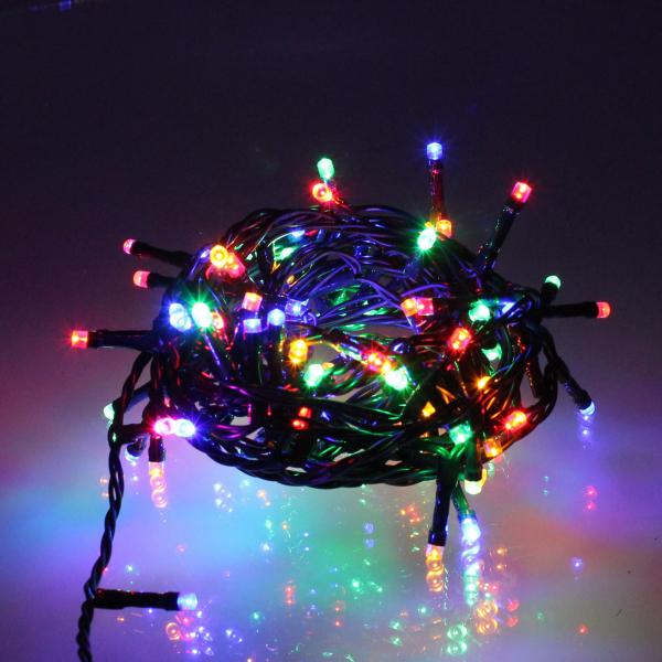 Ghirlanda luminoasa decorativa 100 LED-uri multicolore cu jocuri de lumini cablu verde WELL  [0]