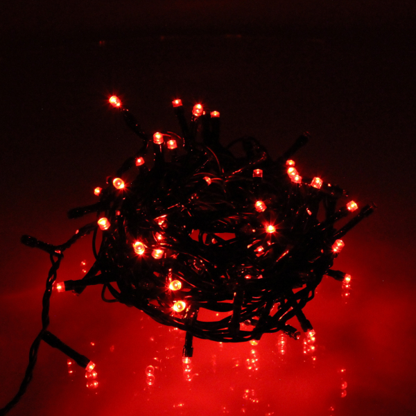 Ghirlanda luminoasa decorativa 100 LED-uri rosii cu jocuri de lumini cablu verde WELL  [0]