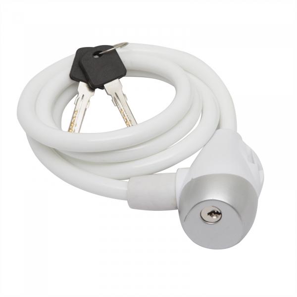 Antifurt cablu bicicleta10 mm x 120 cm alb 0