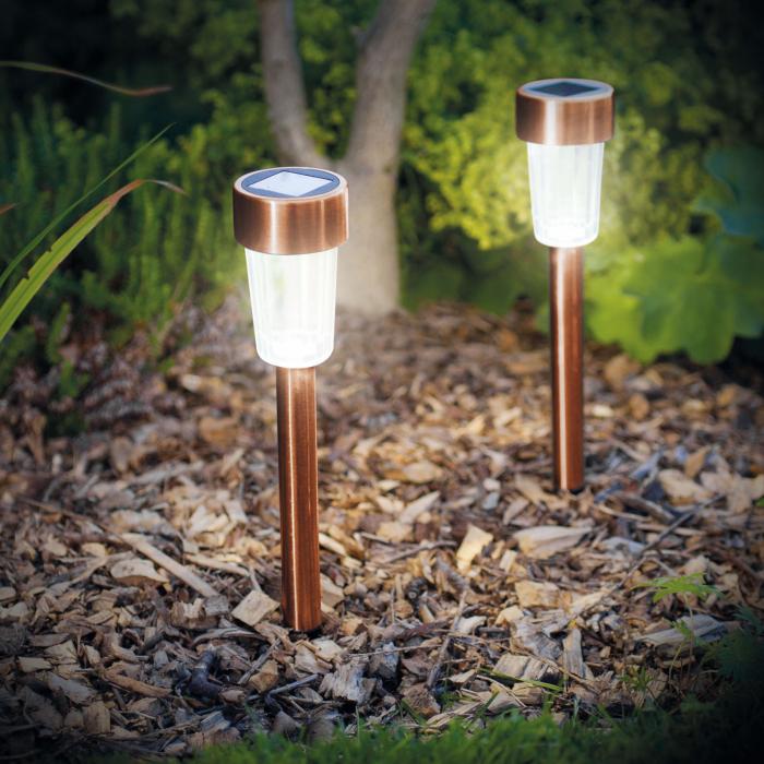 Lampă solară LED pt. exterior - 300 x 45 mm, metal, Auriu rosé 1