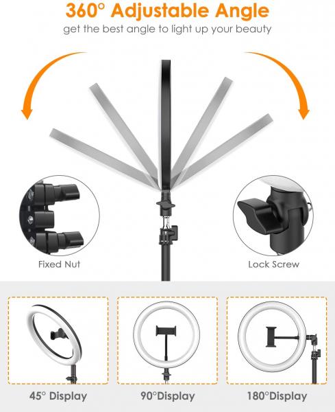 Lampa foto circulara LED BlitzWof BW-SL2 Make up Profesionala, Ring Light 120 Leduri cu Lumina Rece Calda 6