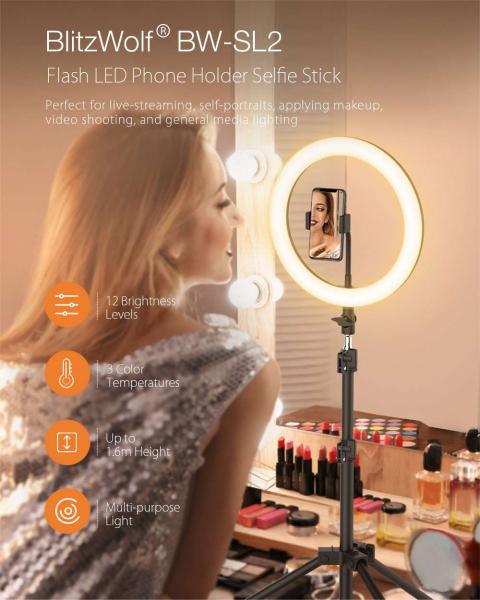 Lampa foto circulara LED BlitzWof BW-SL2 Make up Profesionala, Ring Light 120 Leduri cu Lumina Rece Calda 2