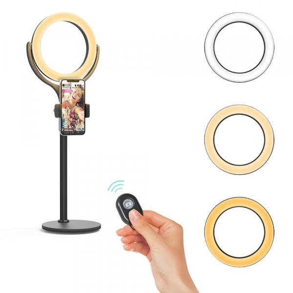 Lampa foto circulara LED BlitzWof BW-SL4 Make up Profesionala, Ring Light 64 Leduri Lumina Rece si Calda Tip Inel 1