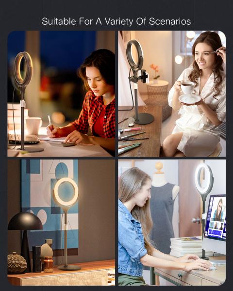 Lampa foto circulara LED BlitzWof BW-SL4 Make up Profesionala, Ring Light 64 Leduri Lumina Rece si Calda Tip Inel 6