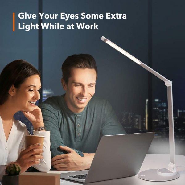 Lampa de birou cu LED TaoTronics TT-DL22, incarcare USB, 6 niveluri de luminozitate - Silver 6