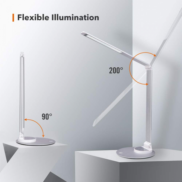 Lampa de birou cu LED TaoTronics TT-DL22, incarcare USB, 6 niveluri de luminozitate - Silver 3