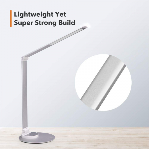 Lampa de birou cu LED TaoTronics TT DL66 cu incarcare USB si 6 niveluri de luminozitate Silver 1