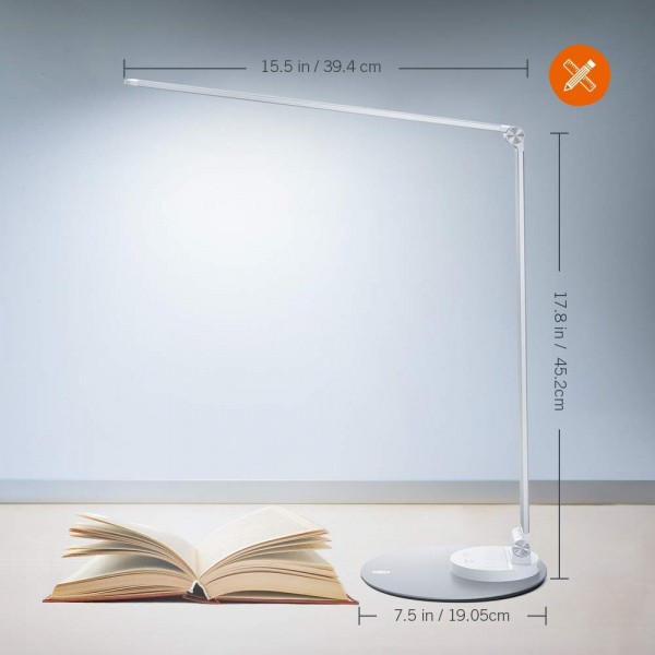 Lampa de birou cu LED TaoTronics TT DL66 cu incarcare USB si 6 niveluri de luminozitate Silver 4