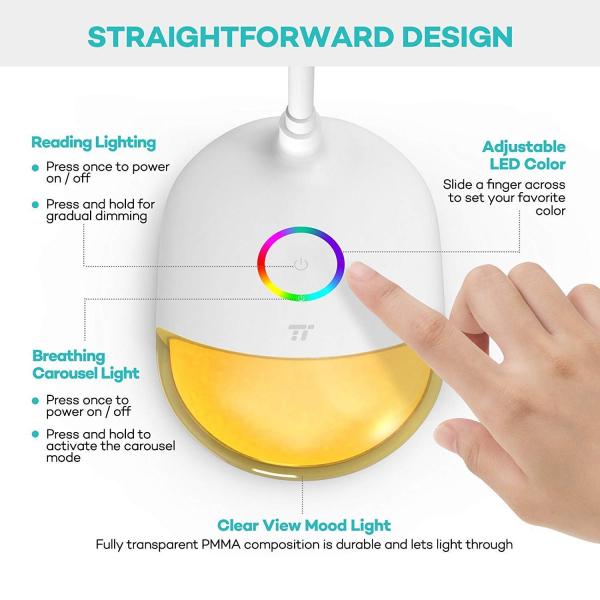 Lampa de birou LED TaoTronics TT DL070 control Touch  Protectie ochi  7W  Acumulator incorporat 6
