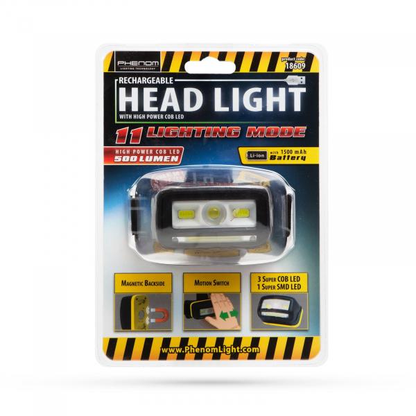 Lampa de cap cu acumulator Li-Ion, iluminare COB-LED 3