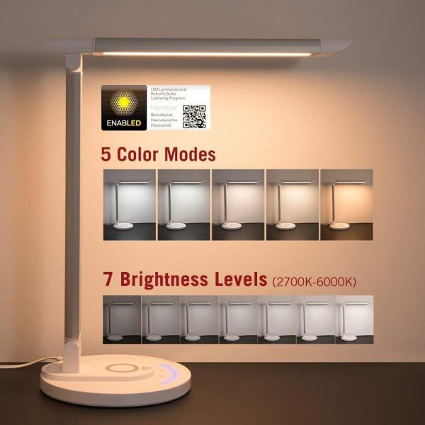 Lampa LED de birou TaoTronics TT DL043  cu incarcator wireless  control touch  USB  12W  410 lm 3