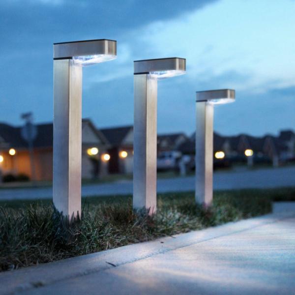 Lampa solara de gradina LED alb rece - Satinat - Metal 1