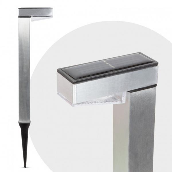 Lampa solara de gradina LED alb rece - Satinat - Metal 0