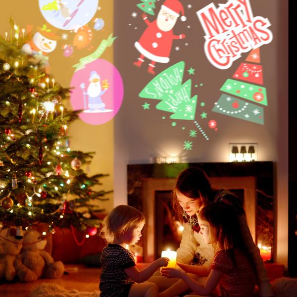 Lumina de Craciun Party cu LED si sabloane de proiectie 8