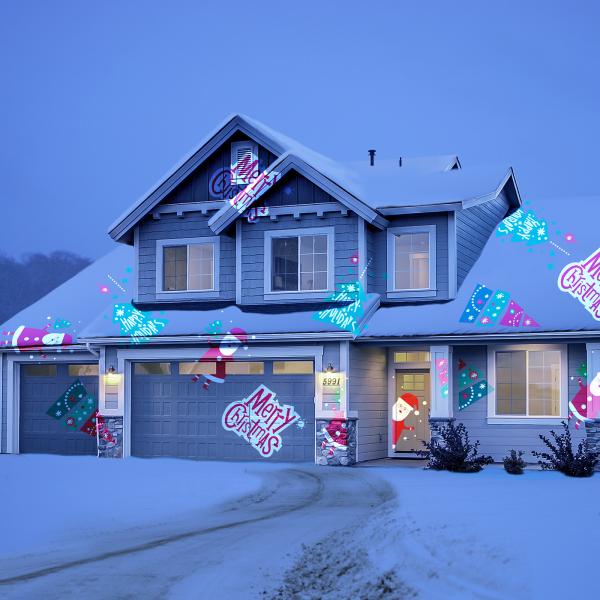 Lumina de Craciun Party cu LED si sabloane de proiectie 9