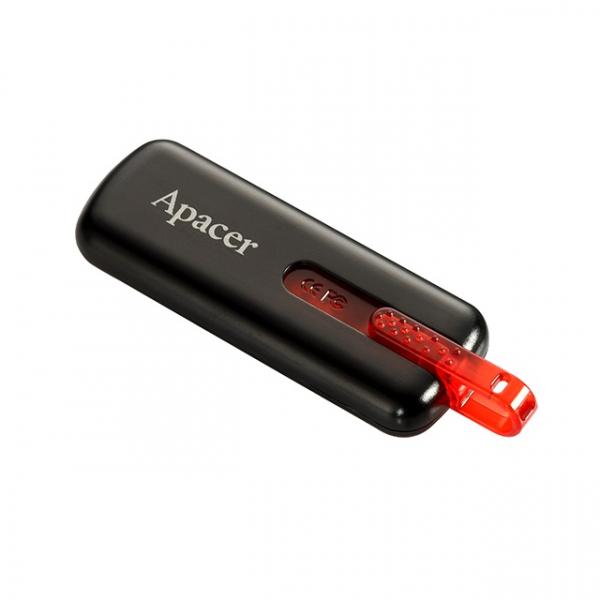 Memorie flash USB2.0 16GB retractabila, Apacer, negru cu rosu 0