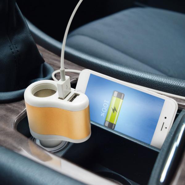 Priză brichetă auto cu 2 x USB 3,1A in total - alb 1