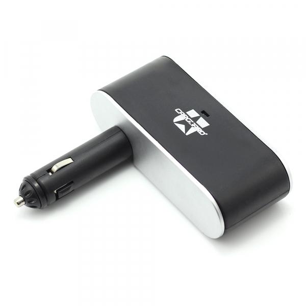 Priza tripla in unghi reglabil pentru bricheta auto + USB 1A 2
