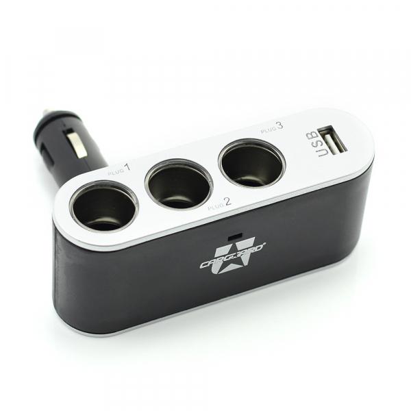 Priza tripla in unghi reglabil pentru bricheta auto + USB 1A 3