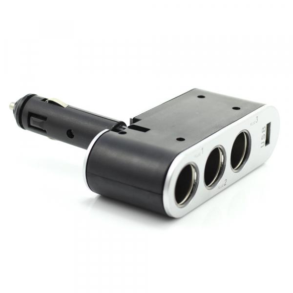 Priza tripla in unghi reglabil pentru bricheta auto + USB 1A 1