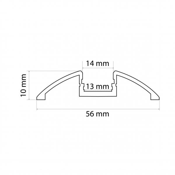 Profil aluminiu  benzi LED, 56x10 mm, 1m [2]