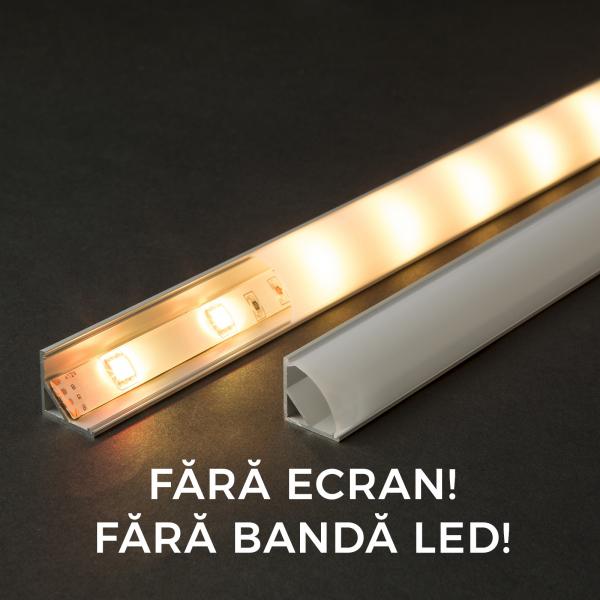 Profil  din aluminiu benzi LED 1000x16x16mm - rotunjit 0