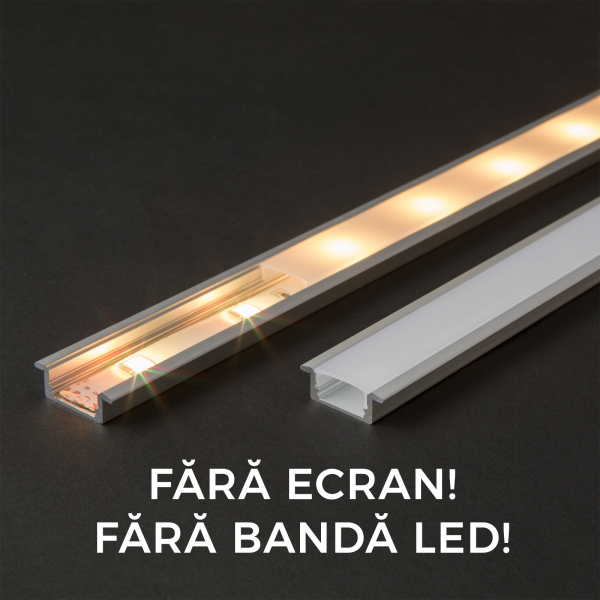 Profil din aluminiu pentru benzi LED 2000x23x8mm 0