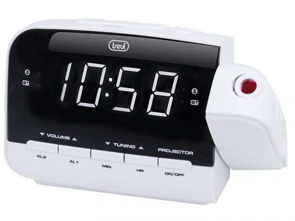 Radio cu ceas si alarma, proiector RC 858PJ, alb, Trevi 0