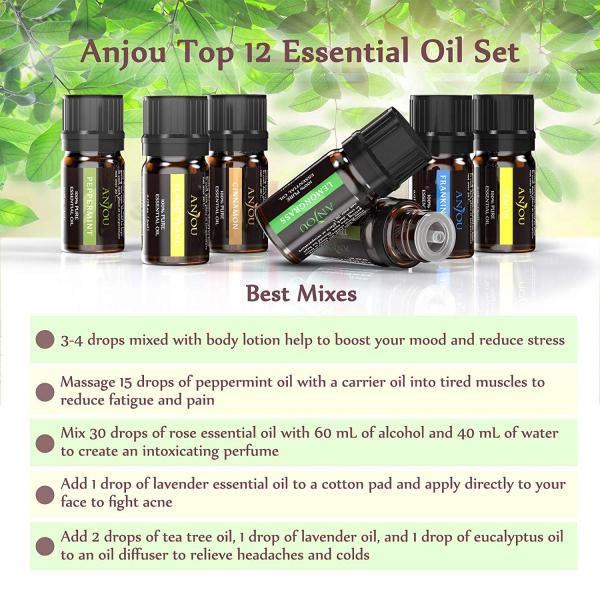 Set 12 uleiuri esentiale Anjou 12x5ml puritate 100% pentru aromaterapie [5]