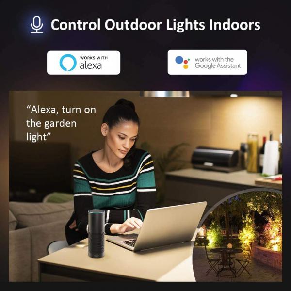 Set 2 lampi de podea LED RGB Novostela, Smart, Wifi, Alexa,Google , 20W, Exterior IP66 waterproof 3