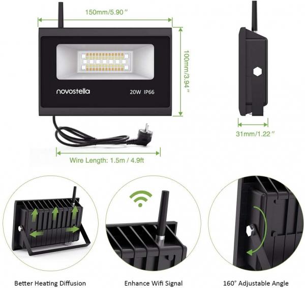 Set 2 lampi de podea LED RGB Novostela, Smart, Wifi, Alexa,Google , 20W, Exterior IP66 waterproof 5