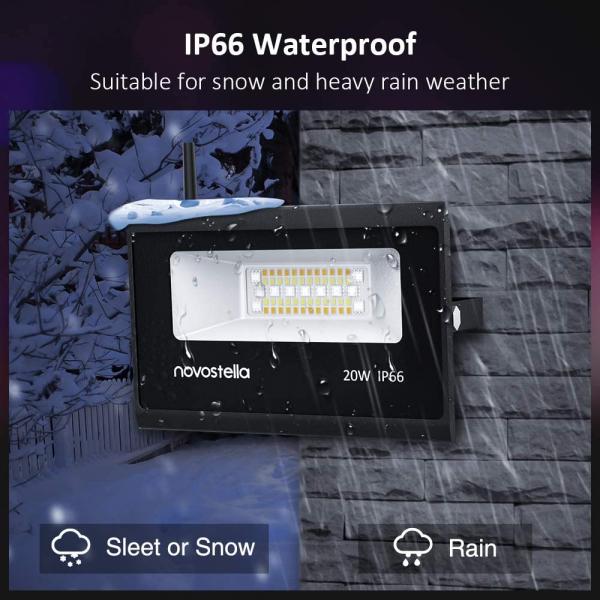 Set 2 lampi de podea LED RGB Novostela, Smart, Wifi, Alexa,Google , 20W, Exterior IP66 waterproof 4