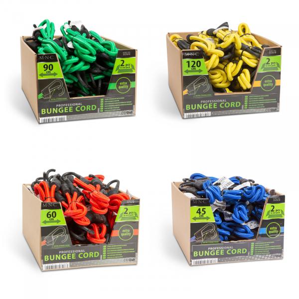 Set de cordeline de fixare extensoare cauciuc profesionale - Roşu - 60 cm x 8 mm - 2 buc. / pachet 5