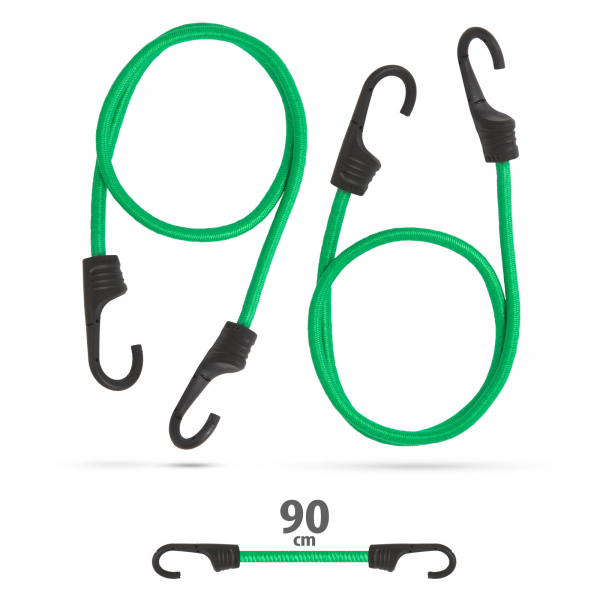 Set de cordeline de fixare, chingi cauciuc profesionale - Verde - 90 cm x 8 mm - 2 buc. / pachet [0]