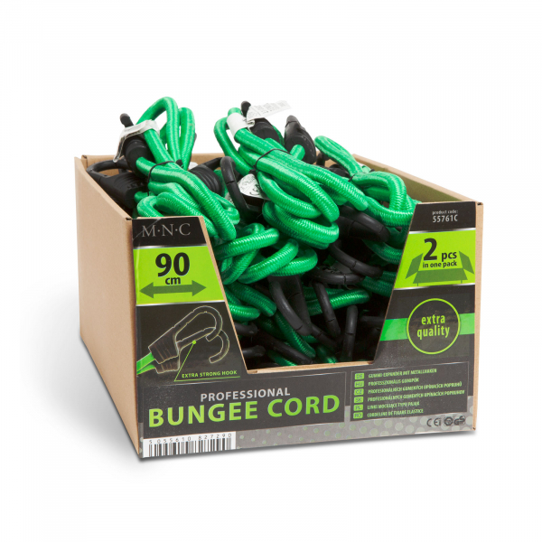 Set de cordeline de fixare, chingi cauciuc profesionale - Verde - 90 cm x 8 mm - 2 buc. / pachet [4]