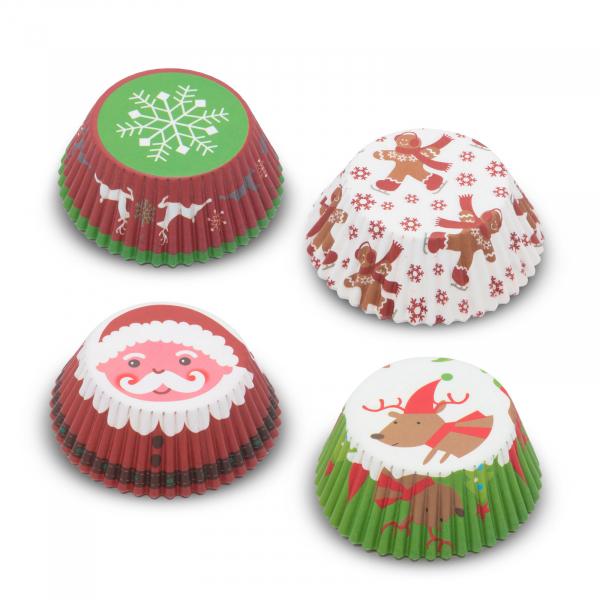 Set gofraje de hârtie muffin - model Crăciun - 100 buc. / pachet 1