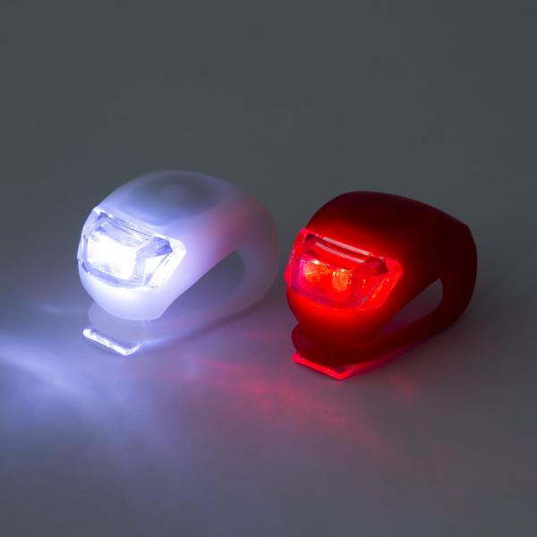 Set lumini bicicleta cu LED cu acoperire siliconica2 buc./set 1