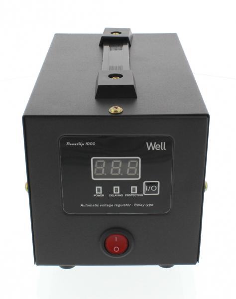 Stabilizator automat de tensiune cu releu 1000VA, negru Well 0