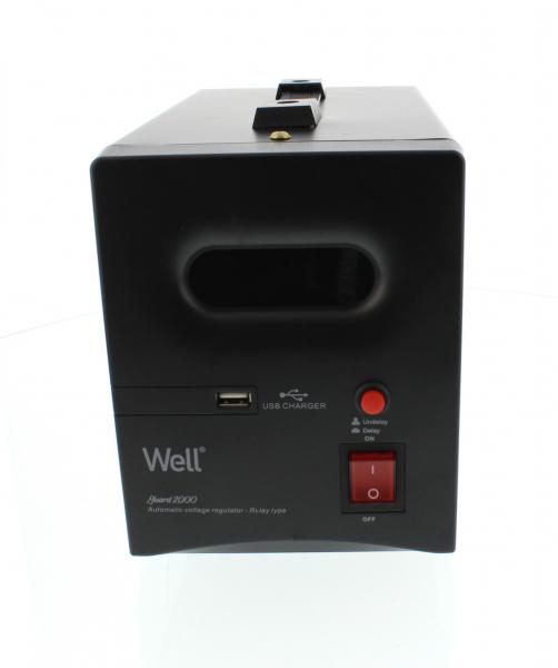 Stabilizator automat de tensiune cu releu 2000VA, negru Well 0
