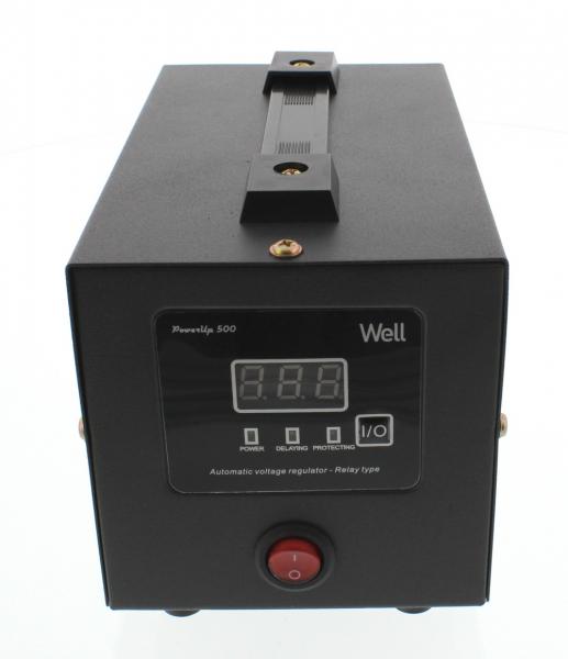Stabilizator automat de tensiune cu releu 500VA, negru Well 0
