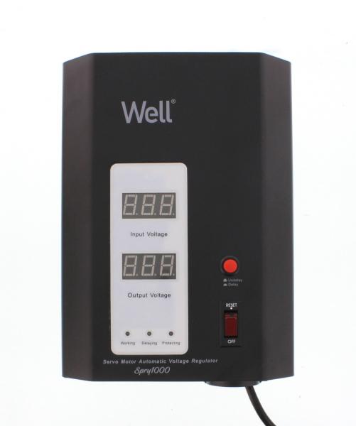 Stabilizator automat de tensiune cu servo motor montabil pe perete, 1000VA, negru, Well [0]