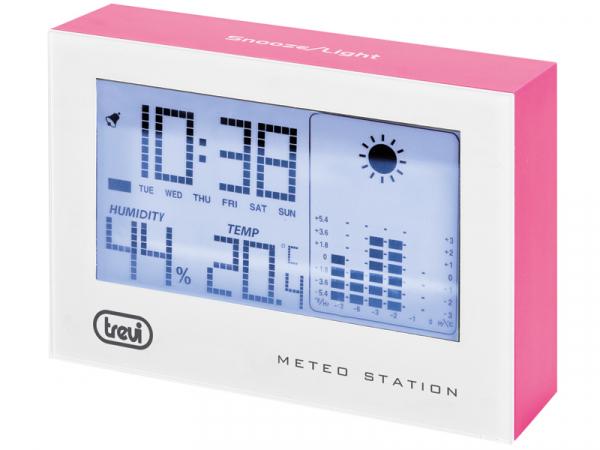 Statie meteo cu ceas alb/roz Trevi [0]