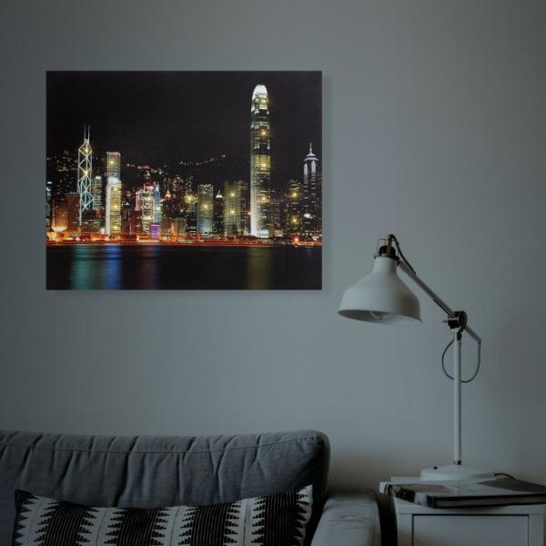 "Tablou cu LED - ""Hong Kong"" - 2 x AA, 38 x 48 cm 1"