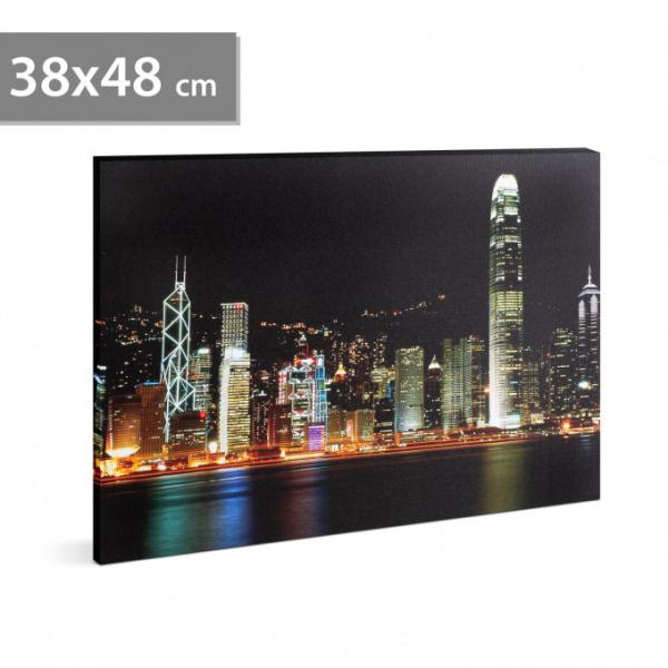"Tablou cu LED - ""Hong Kong"" - 2 x AA, 38 x 48 cm 0"