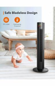 Ventilator turn TaoTronics TT-TF002, 60W cu telecomanda si 3 viteze, display LED2