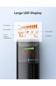 Ventilator turn TaoTronics TT-TF002, 60W cu telecomanda si 3 viteze, display LED1
