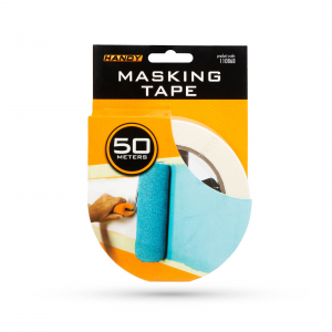 Banda de mascare - cu adeziv pe baza de apa - 50 m x 36 mm - alb2