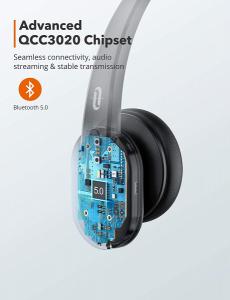 Casti call center cu bluetooth, TaoTronics TT-BH04, Microfon, AI Noise Cancelling, functionare 34 ore7